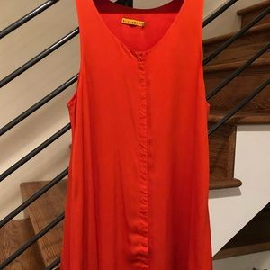 Alice + Olivia Orange Silk Snap Dress Sz. Small
